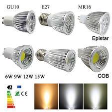 GU10 MR16 E27 LED Luces de techo Epistar COB Bombilla 9W 12W 15W DC12V AC110V 220V
