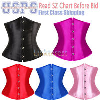 Women's Waist Cincher Underbust Corset Wedding Boned Basques Waspie US S-6XL H2