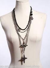 RQ-BL Halskette Kreuz Necklace Black Cross Kette Gothic Steampunk 1020 Silver
