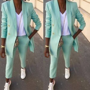 Double Breasted Mint Pant Suits Women Plus Size Shawl Lapel Wedding Party