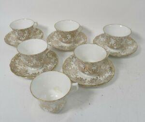 Royal Vale Gold Filigree Teacups & Saucers 11pcs White & Gilded Tea Set [Lot 1]