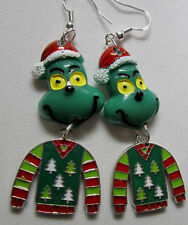 BIG UNIQUE Ugly Sweater Grinch Stole Christmas 925 Earring Handcrafted NORA WINN