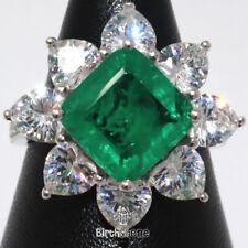 Genuine Cushion Emerald Moissanite Halo Ring Women Jewelry 14K White Gold Plated