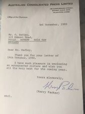 Cricket: Hand Signed Letter By Kerry Packer. Founder Of World Series Cricket.