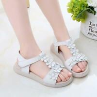 Summer Girls Flower PU Sandals Princess Soft Non-slip Kids Open toe Shoes 4-12Y