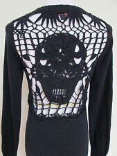 Betsey Johnson Collection Black Crochet Sugar SKULL Sweater Tunic Dress Sz M