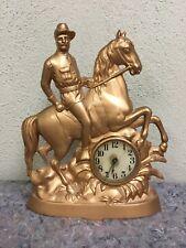 Teddy Roosevelt On Horse Clock-Spanish American War-Rough Riders-Works