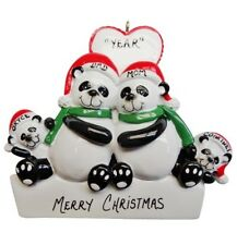 Personalized Panda Family of 4 Christmas Ornament