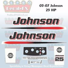 2003-07 Johnson 25 HP Two Stroke Outboard Reproduction 11 Pc Marine Vinyl Decals
