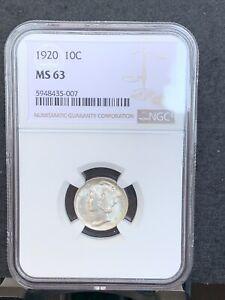 1920 Mercury Dime NGC MS63