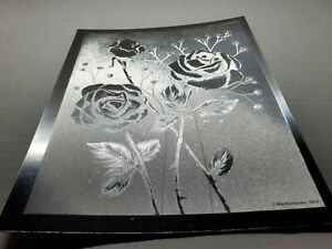 Vintage Manifestations 1984 Optical Illusionary Silver Foil Flowers Art