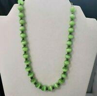 Vintage Green Glass Beaded Bead Choker Necklace Slver Tone Metal Single Strand