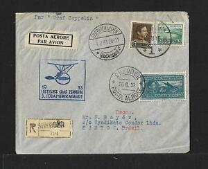 ZEPPELIN ALBANIA TO BRAZIL AIRMAIL COVER 1933 SHKODER -RARE