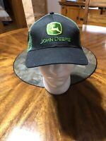 John Deere Trucker Snapback Mesh Hat Black Green Adjustable