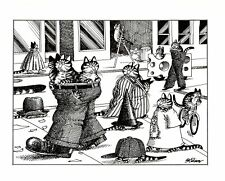 Cats Walking Streets In Human Clothes Hats Kliban Cat Print Black White Vintage