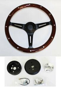 "65-69 Mercury Comet Cyclone Cougar 15"" Steering Wheel Dark Mahogany Wood Black"