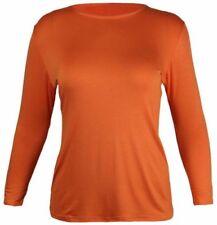 Maglie e camicie da donna a manica lunga arancione viscosi