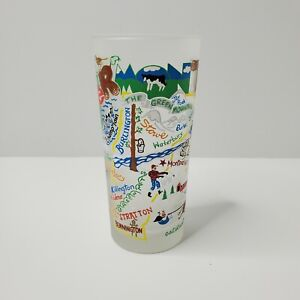 2013 Catstudio Frosted Glass - 16oz -  Vermont - State Landmarks