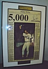 Rare Nolan Ryan Autographed 5000 Strikeout Framed Newspaper 1 of 5000