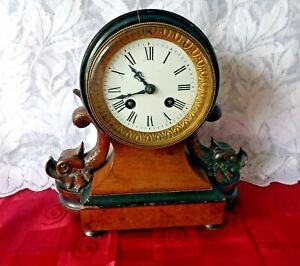 ANTIQUE FRENCH CLOCK TIME & STRIKE ROSEWOOD DOLPHIN CASE Circa Late 1800's