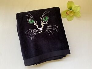 VINTAGE Black Cat Face Green Eyes Towel Embroidered R.A. Briggs NWT  Never Used