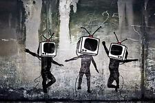 "Banksy TV Heads Television Street Art Graffiti Large 12x18"" Real Canvas Print"
