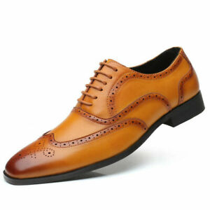 Mens Faux Leather Comfort Formal Dress Suit Carved Brogues Oxfords Fashion Shoes