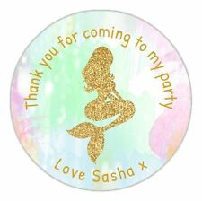 24 Personalised Gold Mermaid Watercolour Party Birthday Stickers Labels Seals