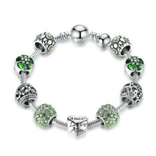 BAMOER Antique Charm Bracelet & Bangle with Love and Flower Crystal Ball Gift