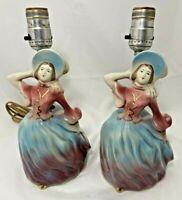 """2 Vintage Porcelain Victorian Lady Boudoir Vanity Lamps Pink Blue Purple 10""""H"""