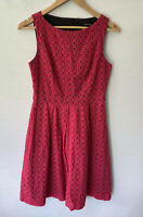 CUE stunning deep Pink Lace Broderie A Line Fit & Flare Dress Size 8