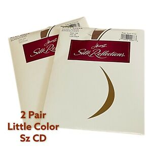 2 New Packs Hanes SILK REFLECTIONS Thigh High Stockings 720 Size CD Little Color