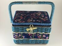 Vintage sewing basket blue floral fabric woven straw red satin lining