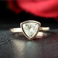 Trillion Cut Mini Solitaire Engagement Ring 1.30 CT Diamond 14K Rose Gold Over