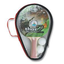 SET 2 x THOR 2 Table Tennis Ping Pong Bats Includes 2 x Table Tennis Balls, Case