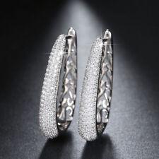 Paved 130 PCS AAA Cubic Zirconia U-Hoop/Huggie Earrings Platinum Plated Jewelry