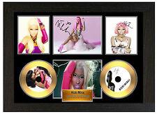 NICKI MINAJ - A3 SIGNED FRAMED GOLD VINYL COLLECTORS CD DISPLAY PICTURE
