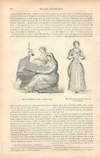 Brodeuse Marchand de Dentelles Dentellière Dessin Théophile Schuler GRAVURE 1881