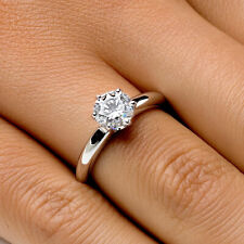 3/4 CT Diamond Engagement Ring Round Cut F/VS2 18K White Gold Enhanced Size 4-9