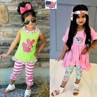 2PCS Child Toddler Kids Baby Girls Easter Cartoon Tops Pants Leggings Outfit Set
