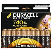 20x Duracell AA Plus Power Duralock Alkaline Batteries Cell LR6 Non-Rechargeable