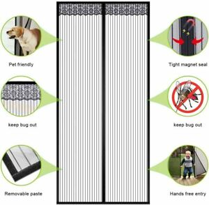 Magnetic Door Mesh Black Fly Screen Magic Mosquito Bug Curtain Hands Free AU