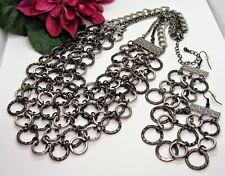 Funky! Silvertone & Gunmetal Hammered Circles Necklace & Pierced Earrings!