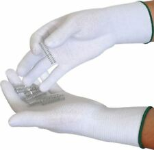 PVC Dotted Cotton/Lycra Gloves White With Blue Edging Trim - Size 9