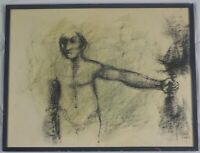Vintage Original 1964 Charcoal Painting of a Man by Jack Beal Listed
