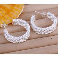 ASAMO Damen Ohrstecker kleine Creolen Ohrringe Sterling Silber plattiert O1082