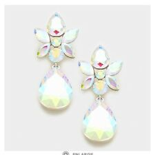 "2.25"" Long Silver Clear Aurora Borealis AB Austrian Crystal Pageant Earrings"