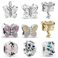 925 Sterling Silver Reflexions Butterfly Flower Dangle Fit Bead Charms Bracelets