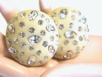 WEISS VINTAGE CELLULOID RHINESTONE SPARKLY CLIP ON OFF WHITE BUTTON EARRINGS