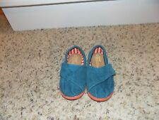 Tiny TOMS Teal Corduroy Classic Flats with Orange Soles-Toddler Size 5 EUC